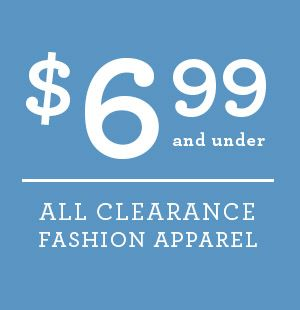 Clearance fashion apparel