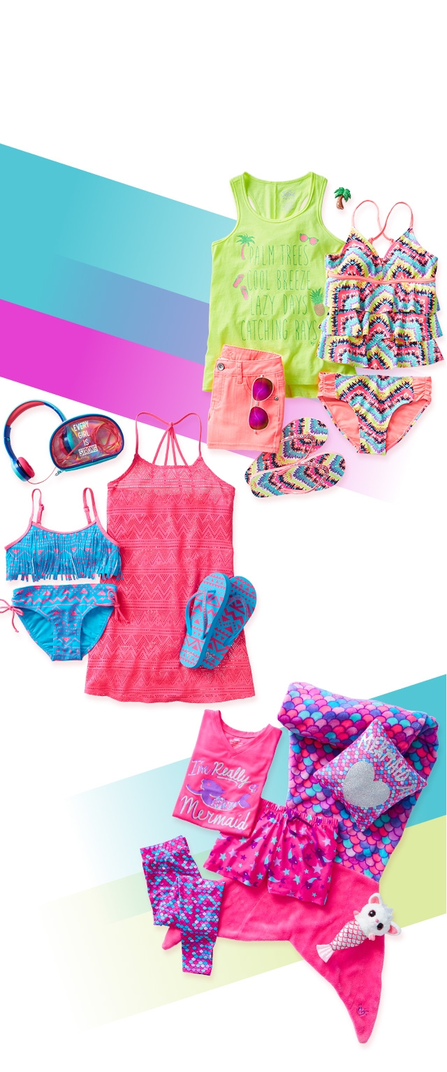 Swimwear and accessories for vacation