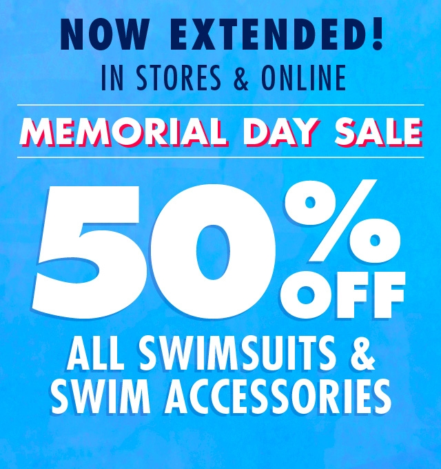 Shop the memorial day weekend sale! 50% off all swimsuits and accessories!