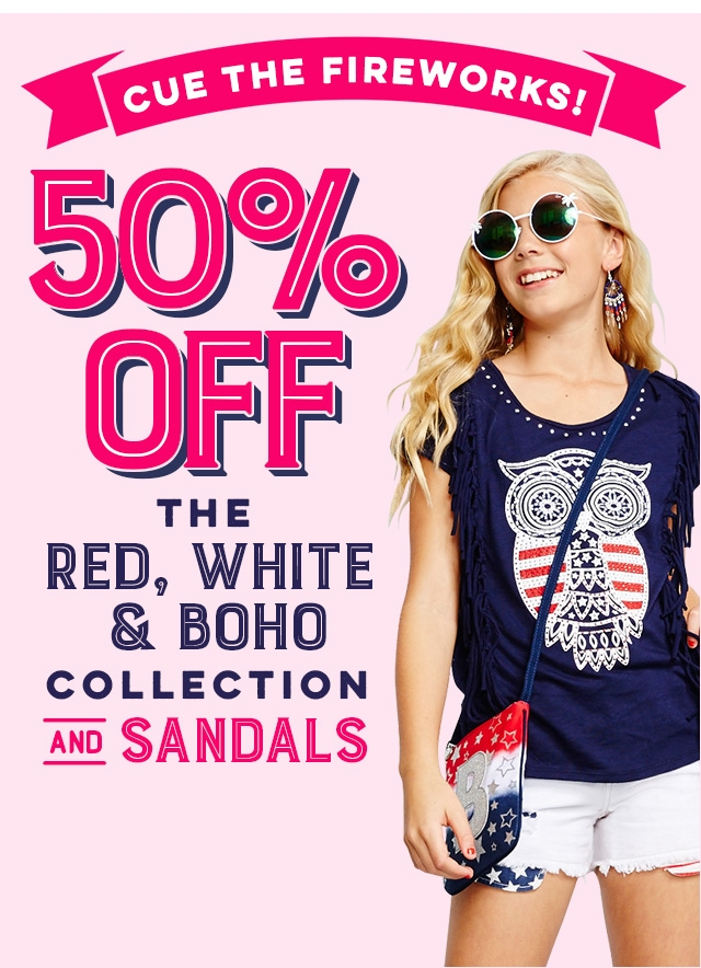 40% off Red, White & Boho Collection and Sandals
