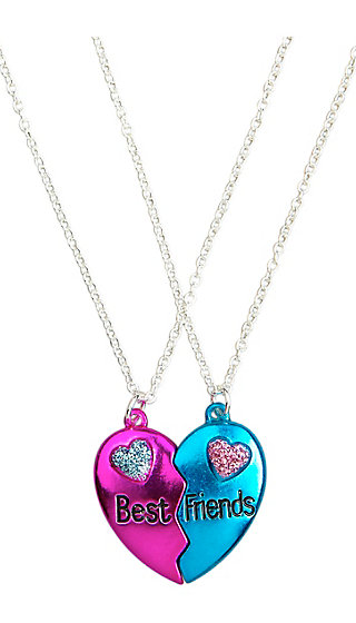 BFF Metallic Broken Heart Necklaces