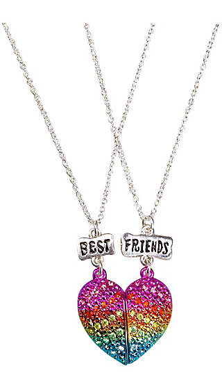 BFF Rhinestone Magnetic Heart Necklace - 2 Pack