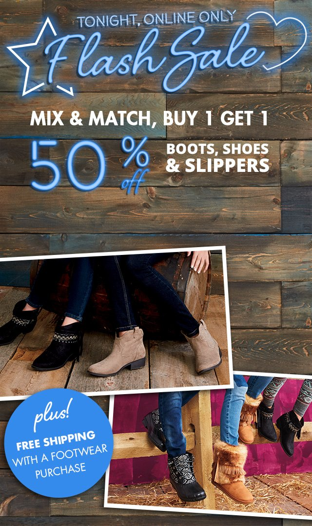 Boots, Shoes and Slippers Flash Sale
