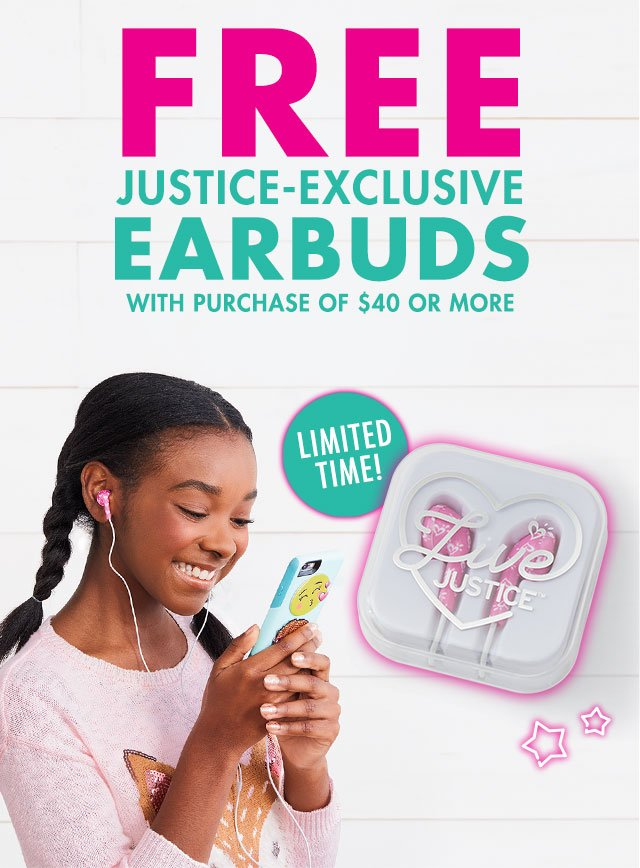 Justice-exclusive earbuds