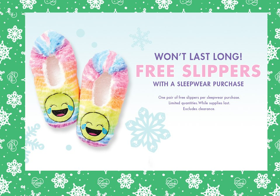 Free slippers with sleepwear purchase