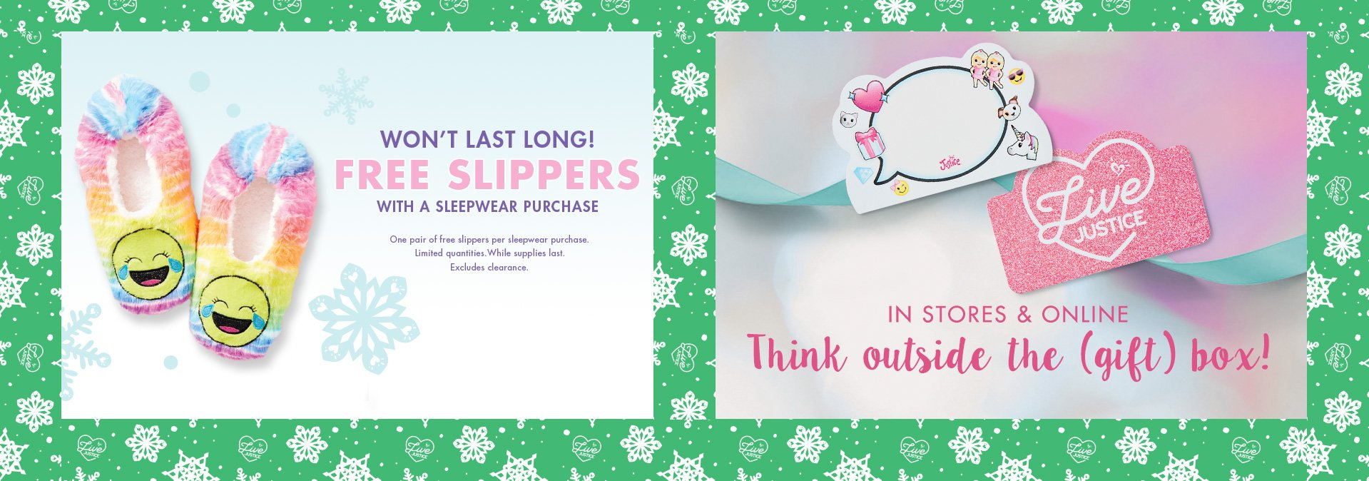 Free slippers with sleepwear purchase, gift cards