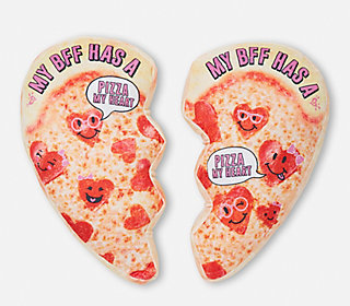 bff pizza heart pillow