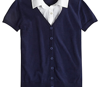 School Uniform Short Sleeve Shirt and Sweater 2fer