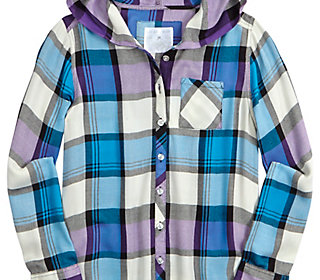 Hooded Plaid Button Up Shirt