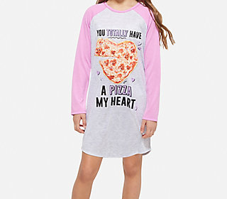 pizza long sleeve nightgown