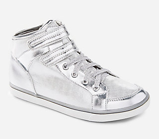 High Top Silver Shimmer Sneaker with Straps