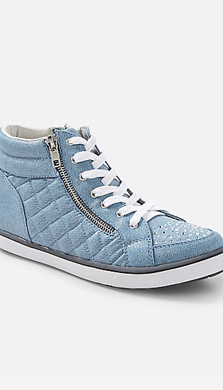 denim shimmer high top sneakers