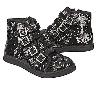 Sequin Buckle High Top Sneakers