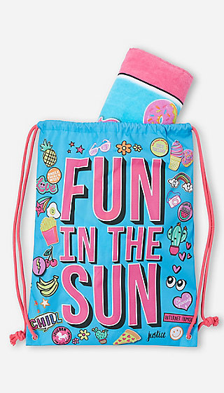 fun in the sun beach towel & tote