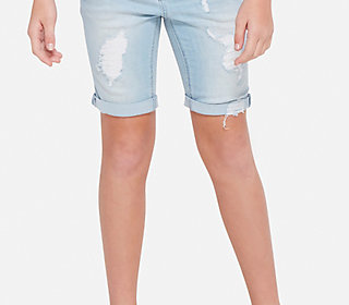 Destructed Denim Bermuda Shorts