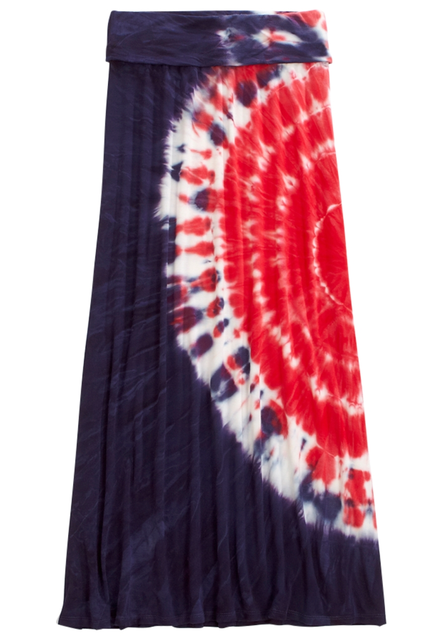 Red, White & Blue Tie Dye Maxi Skirt | Shop Justice | Justice