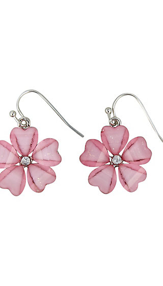 Floral Faceted Drop Earrings