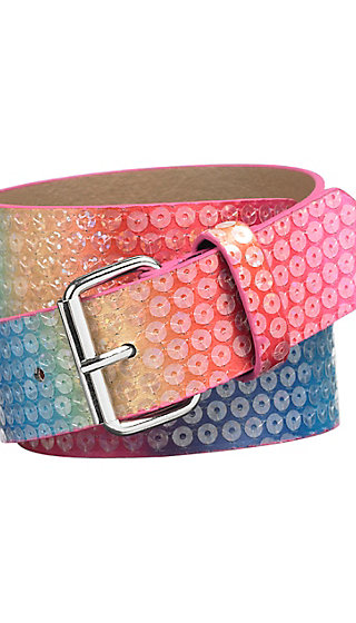 Rainbow Sequin Belt