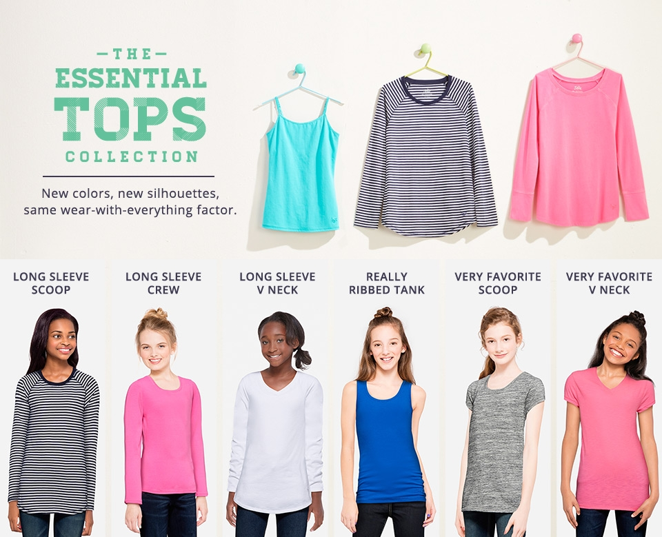 Shop all Justice essential tops!