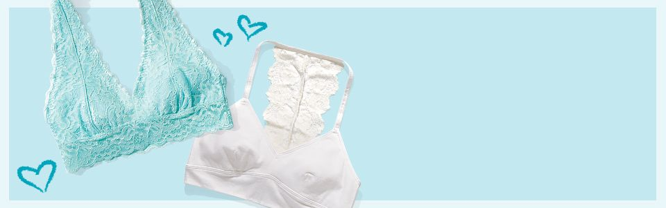 Bras and bralettes: Everyday bras, sports bras, first brad and bralettes for girls.