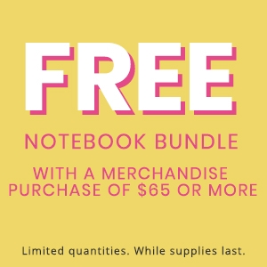 Free notebook bundle with a merchandise purchase of $65 or more
