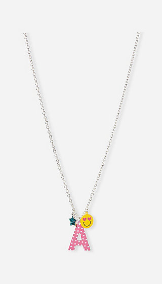 Initial Emoji Long Pendant Necklace