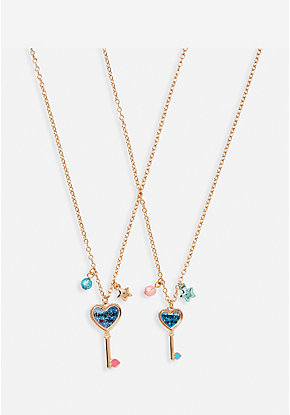 Mother Daughter Key Pendant Necklace Set