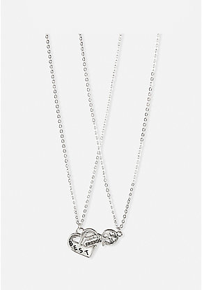 BFF Key & Heart Charm Necklace - 2 Pack
