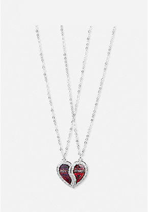 BFF Mood Heart Pendant Necklace - 2 Pack