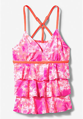 Strappy Tie Dye Tiered Tankini Top