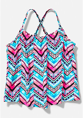 Chevron Gathered Tankini Top