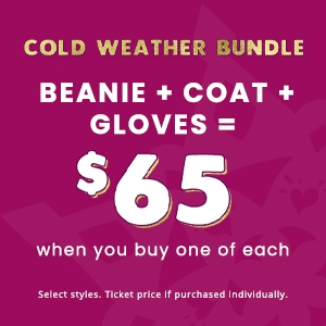 beanie + coat + gloves = $65