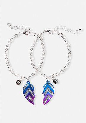 Bff Glitter Chevron Heart Bracelet 2 Pack