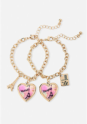 Mother Daughter Paris Locket Bracelet Set