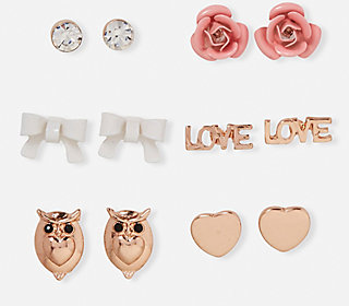 Love Stud Earrings - 9 Pack