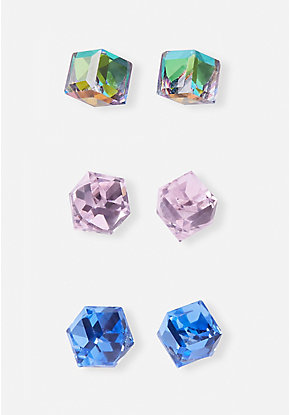 Prism Stud Earrings - 3 Pack