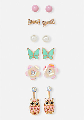 Pastel Owl Stud Earrings - 6 Pack