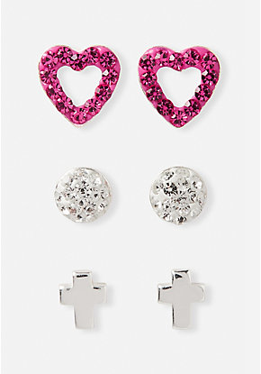 Cross & Heart Crystal Sterling Silver Stud Earrings - 3 Pack