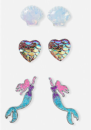 Mermaid Magic Stud Earrings - Set of 3
