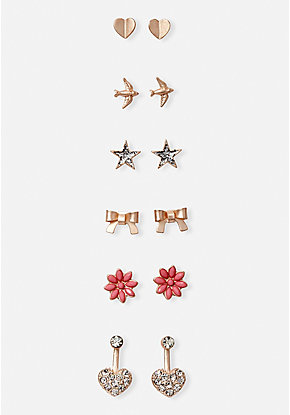 Rose Goldtone Stud Earrings - 6 Pack