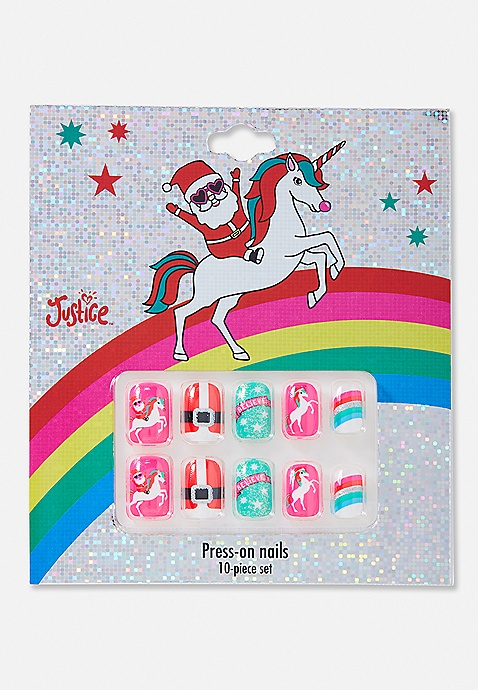 Santa Unicorn Press-On Nails   Justice
