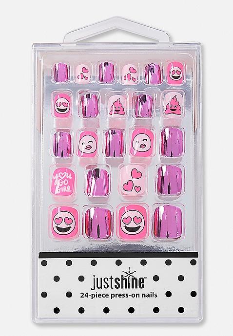 Just Shine Pink Chrome Emoji Press-On Nails   Justice