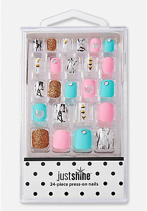 Just Shine Marble Sparkle Press-On Nail Set