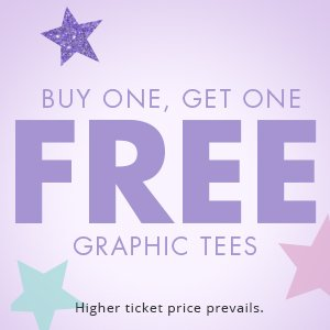 Buy one get one free graphic tees