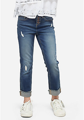 Destructed High Rise Straight Ankle Jeans