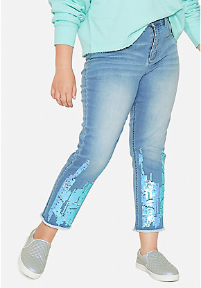 Flip Sequin Ankle Straight Jeans