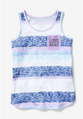 Stripe Pocket Round Hem Tank