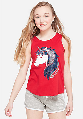 Americorn Glitter Graphic Tank