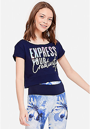 c851d93d1f Express Your Creativity Flip Sequin Crop Tee