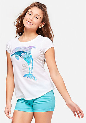 Dolphin Flip Sequin Graphic Tee